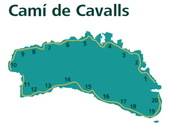 A map of Menorca showing Cami de Cavalls